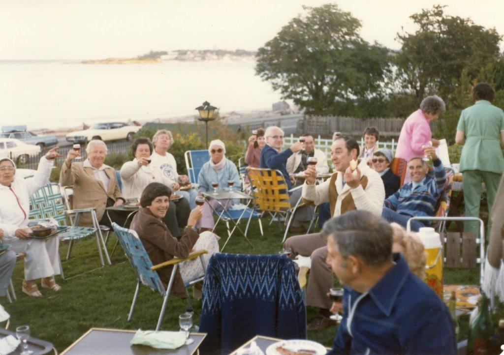 An early BBQ at the Dobsons on Oak Bay Esplanade